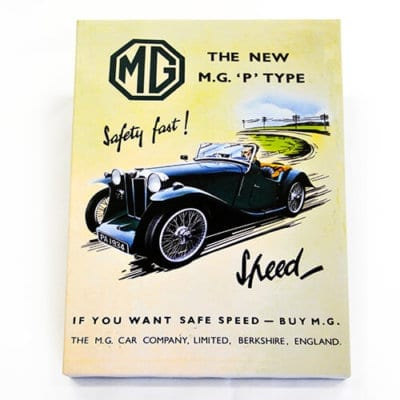 MG P Type Midget Classic Advert Canvas