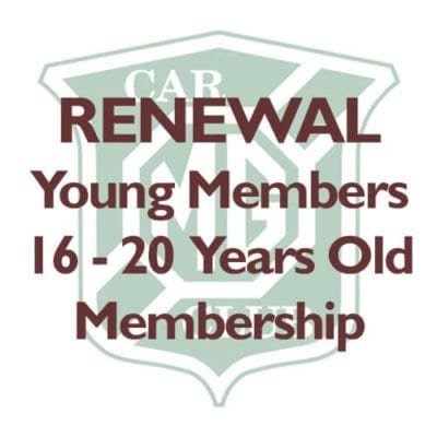 RENEWAL – Young Members aged 16-20 Years